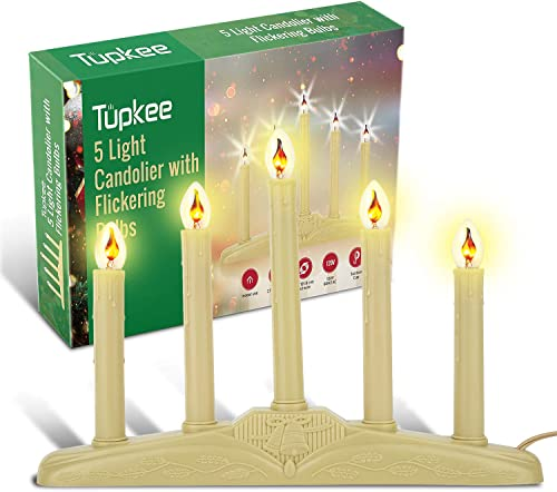Tupkee Christmas Candolier Window Candles with Flickering Bulbs 5-Lights Indoor – Flameless Electric Window Candles Candelabra