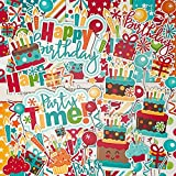 Birthday - Die Cuts & Paper Set - by Miss Kate Cuttables - 16 Sheets of 12''x12'' Cardstock & Over 60 Coordinating Die Cuts - Exclusive Original Matching Set