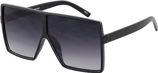 Oversized Flat Top Vintage Women Fashion Shield Large Sunglasses Thick Frame