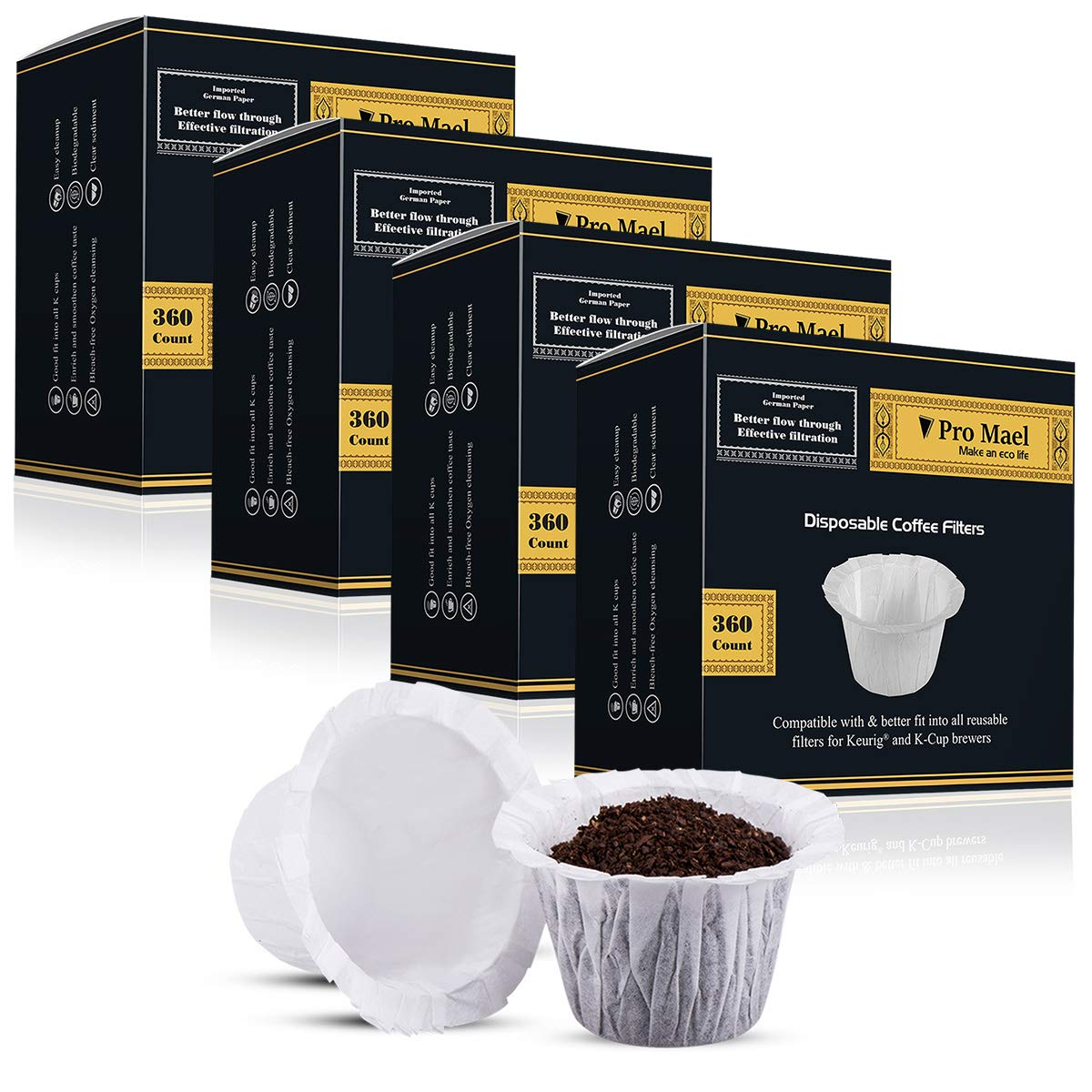 Disposable Coffee Filters 4 Pack 1440 Counts Coffee Filter Paper for Keurig Brewers Single Serve 1.0 and 2.0 Use with All Brands Reusable K Cup Filter by PRO MAEL