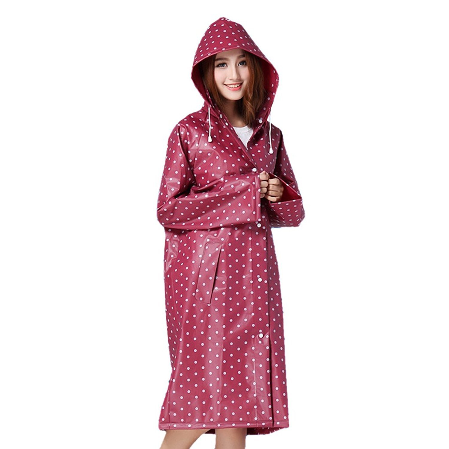 Echo Paths Womens Travel Waterproof Poncho Cycling Hooded Raincoat Long Rain Jacket Portable Red One Size