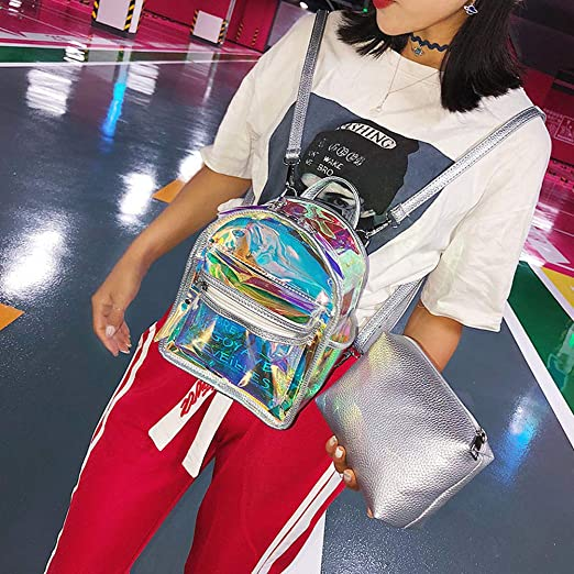 Amazon.com | LUOEM Backpack Hologram School Bag Transparent Satchel for Women Girls (Silver) | Kids Backpacks