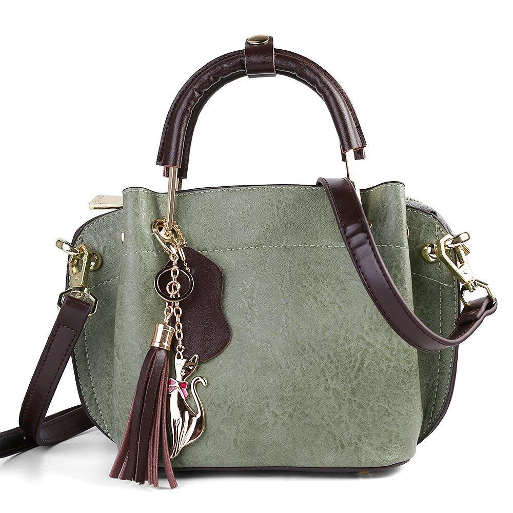 Women's Top Handle Satchel Genuine Leather Handbags Tote Purse Shoulder Bag (Sage)