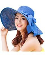 Itopfox Women's Folable Floppy Hat Big Bowknot Straw Hat Wide Brim Beach 50+ UPF Sun Hat