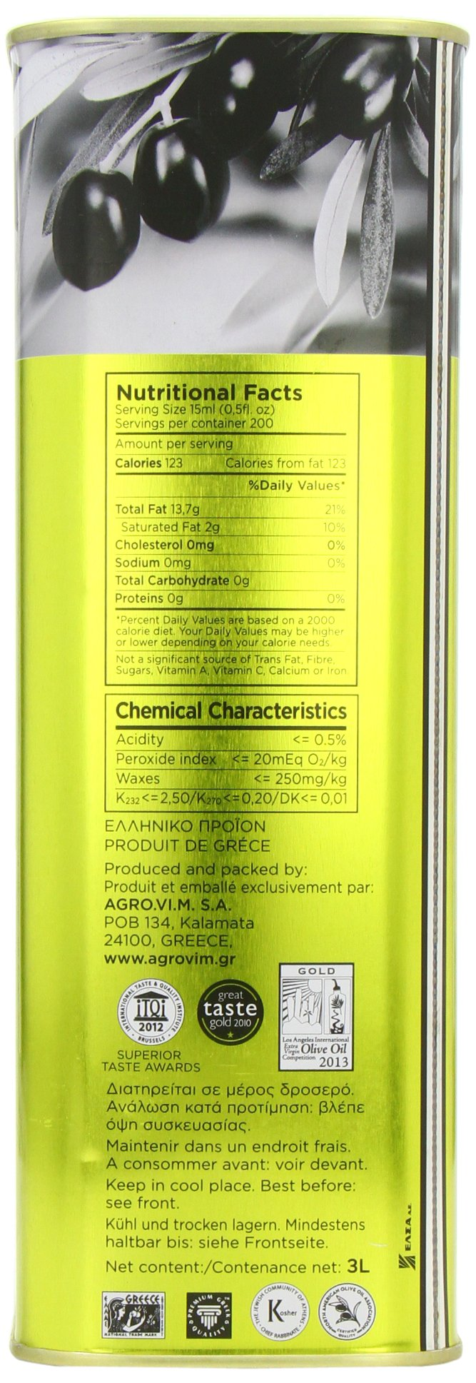 Iliada Extra Virgin Olive Oil Tin, 3 Liter by Iliada (Image #3)