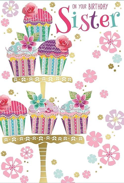 Dorado hermana cumpleaños con texto en inglés - diseño de ...