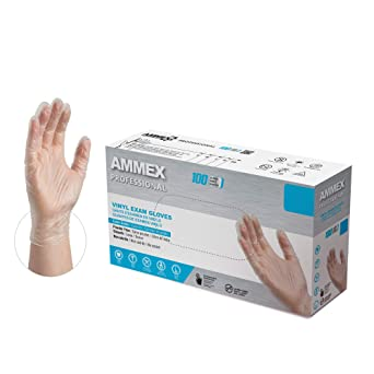 AMMEX Clear Vinyl Medical Gloves, Box of 100, 3 Mil, Size Medium, Latex Free, Powder Free, Disposable, Non-Sterile, Food Safe, VPF64100-BX