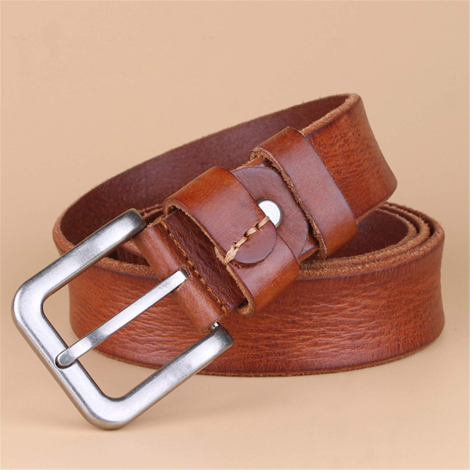 Luxury Belt Mens Belt pin buckle mans Genuine Leather strap for jean wide brown color