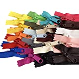 20pcs Mixed Colors Ykk Number 4.5 Coil Handbag Zipper or Purse Zippers Long Pull Made in USA Pack Vinyl Bag (12 inches)