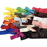20pcs Mixed Colors Ykk Number 4.5 Coil Handbag Zipper or Purse Zippers Long Pull Made in USA Pack Vinyl Bag, 7 inches