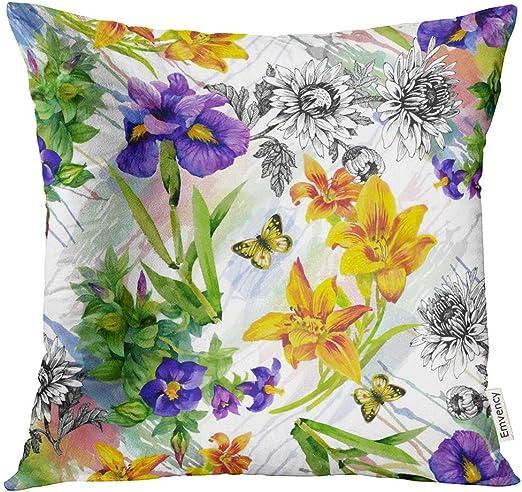 Kinhevao Cojín Jardín Lily Iris Violeta Africana Saintpaulia Flores Acuarela Mariposas Almohada Cojín Decorativo Almohada: Amazon.es: Jardín