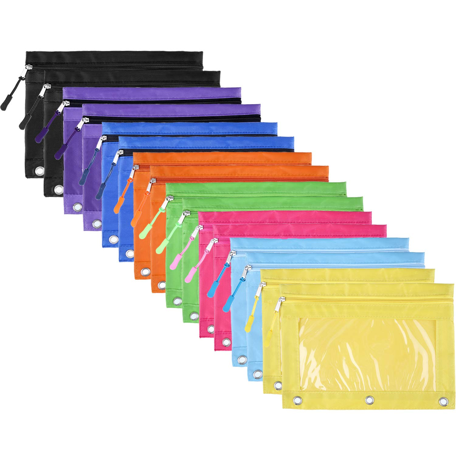BBTO Pencil Pouch 3 Ring Binder Pencil Bags with Zipper Pulls for Office School Supplies, 8 Colors (16)