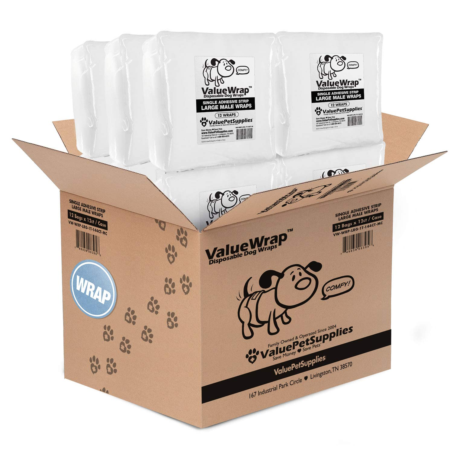 ValueWrap Male Dog Diapers, Belly Wraps, 1-Tab, Large, 144 Count