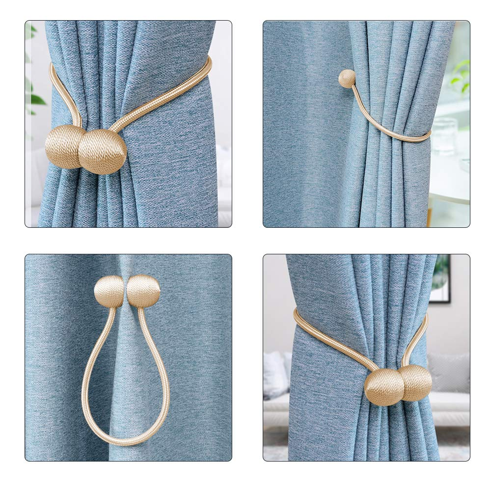 VIPMOON 4 Pack Magnetic Curtain Tiebacks Clips Classic European Window Bureau Decorative Drapes Holders Buckle with Strong Magnetic for Home D/écor Tie Band Clasp Or
