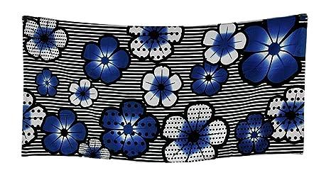 Algodón Toallas de playa azul exótico hibiscos flores y rayas toalla de playa 30 x 60