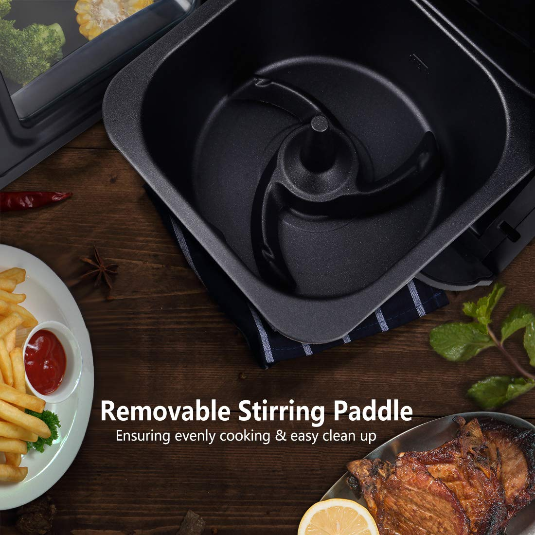 SARKI XL Fryer Viewing Window 12Qt Large Capacity, 6-Piece Programmable Air Oven with 12 Pre Settings Electric Hot Deep 6.3Qt Extra Fry Pan Inside-1700W /110V by SARKI (Image #3)