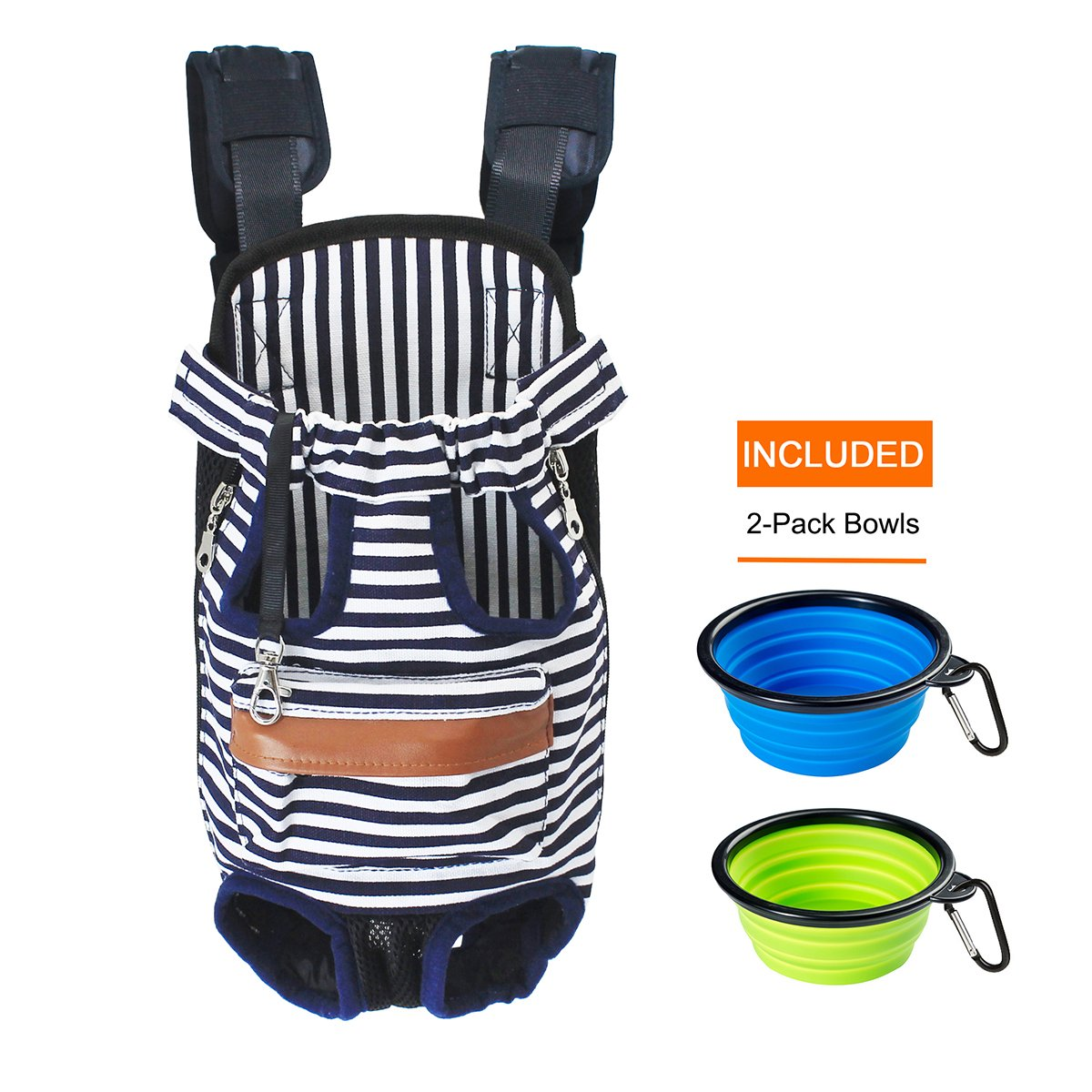 NEFBENLI Canvas Blue+White stripes Legs Out Front Pet Dog Carrier Front Chest Backpack Pet Cat Puppy Tote Holder Bag Sling Outdoor Rucksack,Included 2-Pack Collapsible Travel feeding Bowls