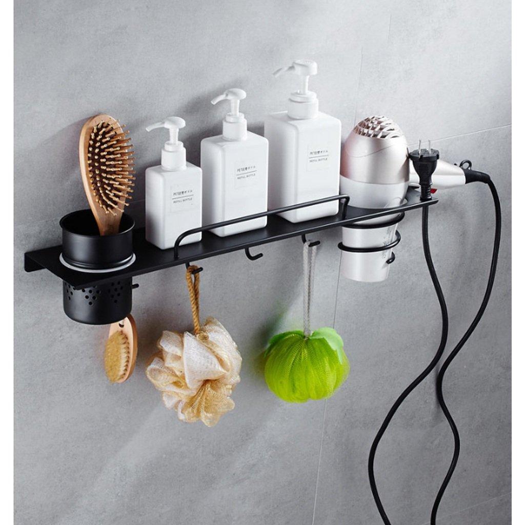 LIMING Secador de Pelo de Acero Inoxidable Soporte de Tubo de perforación Libre Estante de pátina Negro Accesorios de baño Adecuado para peluquería Hotel ...