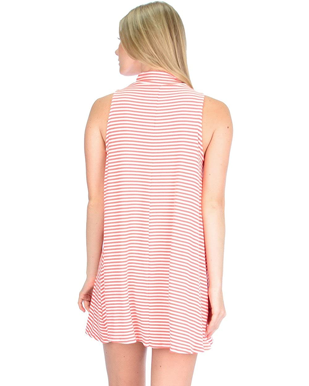 Lyss Loo Womens Olivia Striped Sleeveless Tunic Tank Shift Dress
