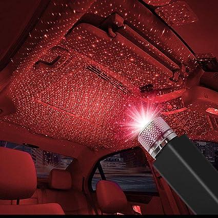 Auto Usb Atmosphäre Sternlicht Romantische Led Autodach Lichter Dekoratives Weihnachtsinnenlicht Keine Notwendigkeit Zu Installieren Plug And Play Für Car Home Party Rot Auto