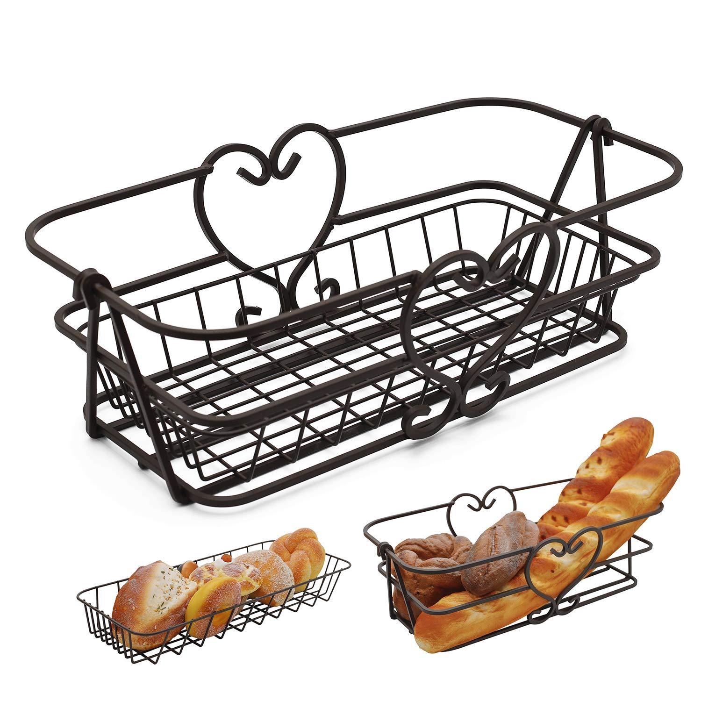 Bread Basket for Serving, 16'' 2 in 1 Solid Metal Line Large Baskets for Kitchen Counter Top Fruit/Vegetable Storage, Matte Bronze Finish