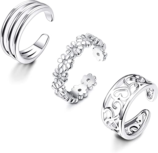toe ring vintage style above knucle adjustable open solid silver ring present