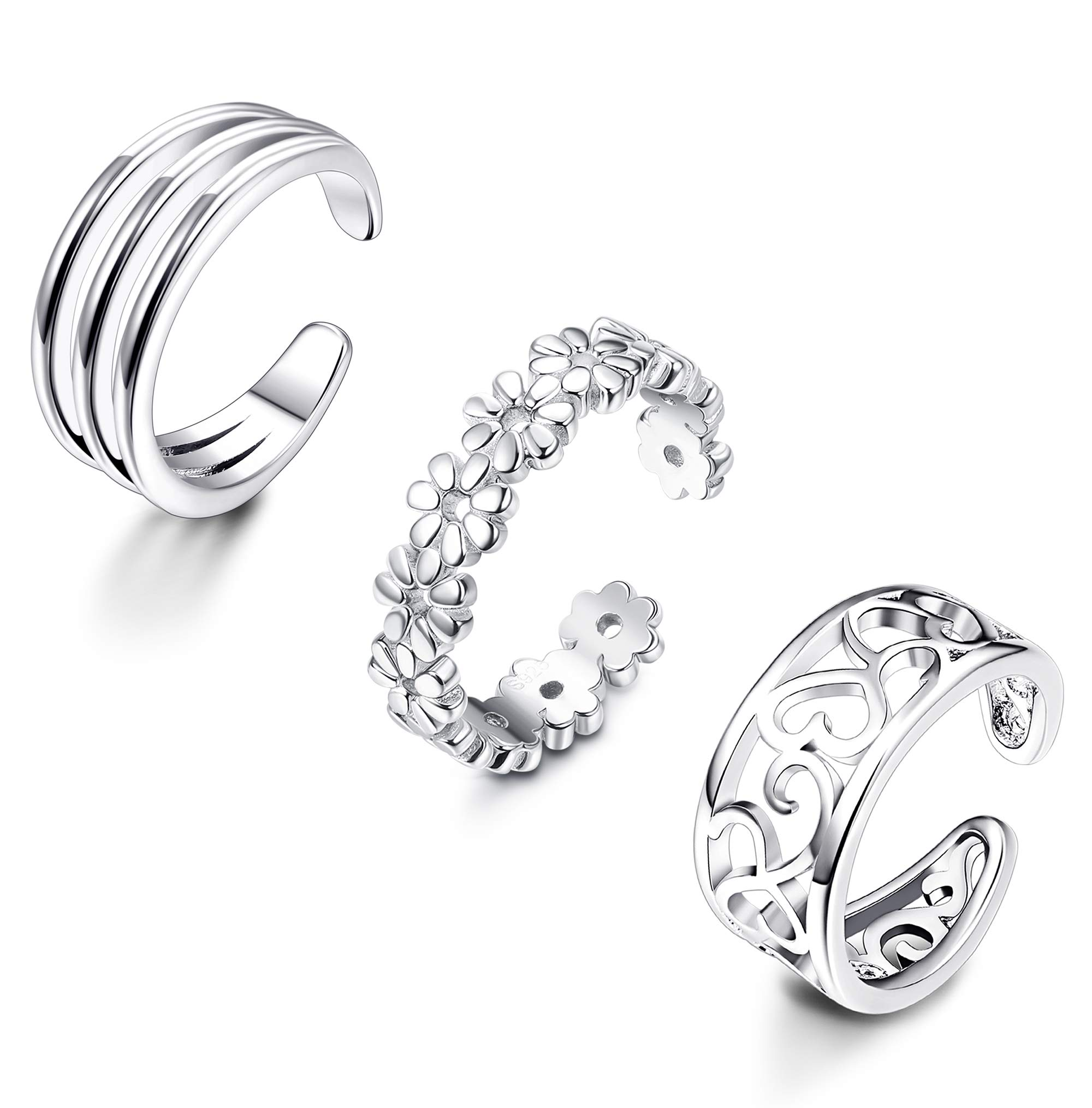 LOYALLOOK 925 Sterling Silver Open Toe Rings Set for Women Simple Thin CZ Tail Band Ring Adjustable