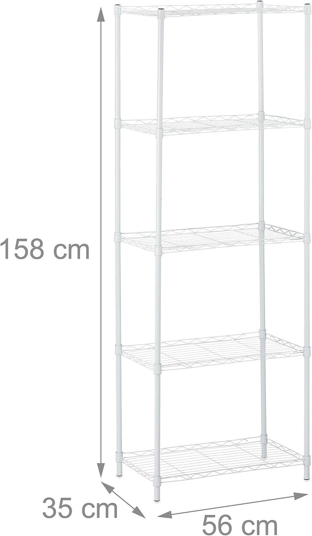 hellgrau 3 Ablagen universal Vorratsregal K/üche /& Abstellkammer Standregal HBT 83x56x35cm Relaxdays Regal Metall