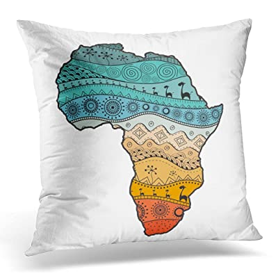 SPXUBZ Colorful Blots Map of Africa Ethno Pattern Tribal Abstract Colored Boho Cloth Decorative Home Decor Square Indoor/Outdoor Pillowcase Size: 18x18 Inch(Two Sides): Home & Kitchen