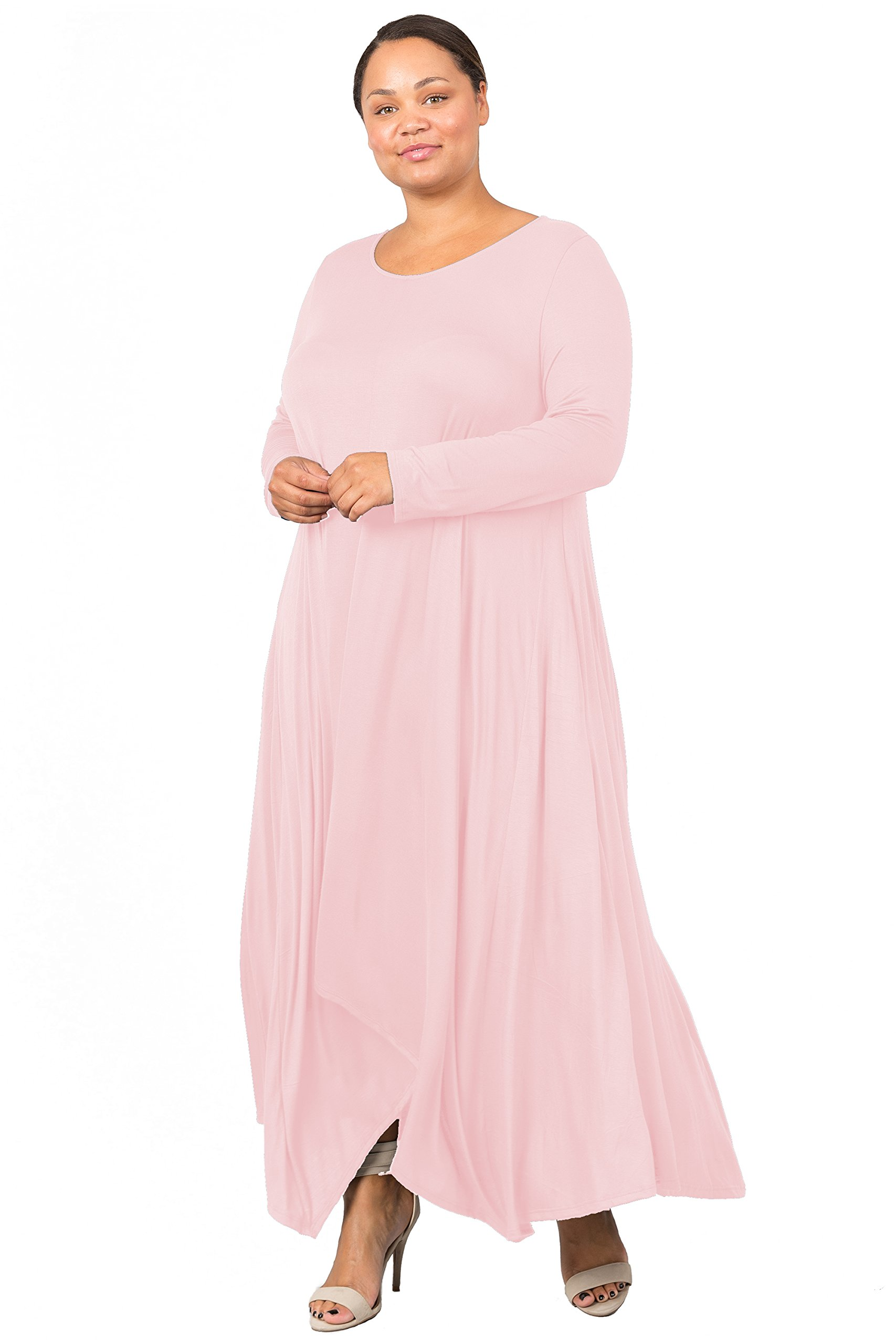 Love In D6190C-PX Long Sleeve Round Neck Flared Maxi Dress W/Pocket Blush 3X