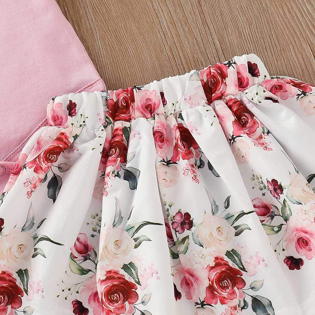 Baby Girl Floral Skirt Sets,Jchen Baby Girl Solid Color Ruffle Romper Floral Print Skirt Headbands Outfits for 3-24 Months