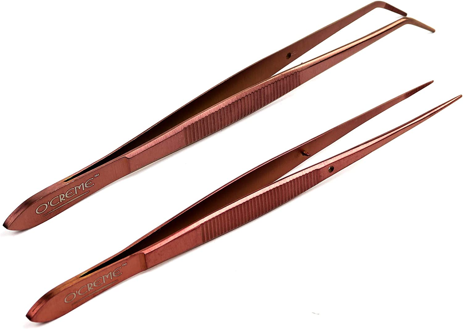 O'Creme Rose Gold Stainless Steel Precision Kitchen Culinary Fine-Tip Tweezer Tongs, 1 with Curved Tip and 1 with Straight Tip