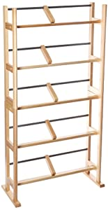 Atlantic Element Media Storage Rack - Holds up to 230 CDs or 150 DVDs, Contemporary Wood & Metal Design with Wide feet for Greater Stability, PN35535687 in Maple