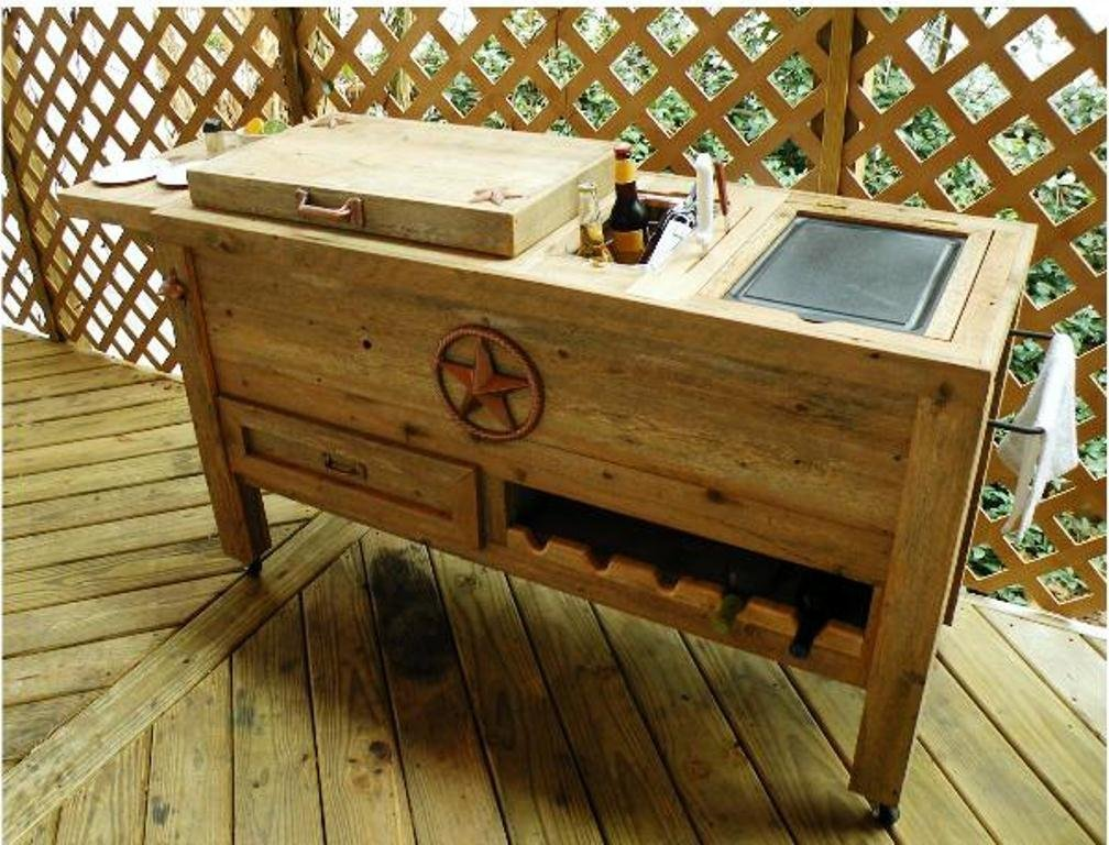 Amazon.com : Outdoor Patio Cooler Bar   Wooden Rustic Kitchen Furniture    Grilling Prep Station On Roller Wheels   Wine Storage, Beer Bottle Opener,  ...