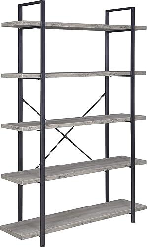 BELLEZE 5 Tier Industrial Bookshelf Open Storage Organizer Etagere Book Shelf Wood and Metal Bookcases