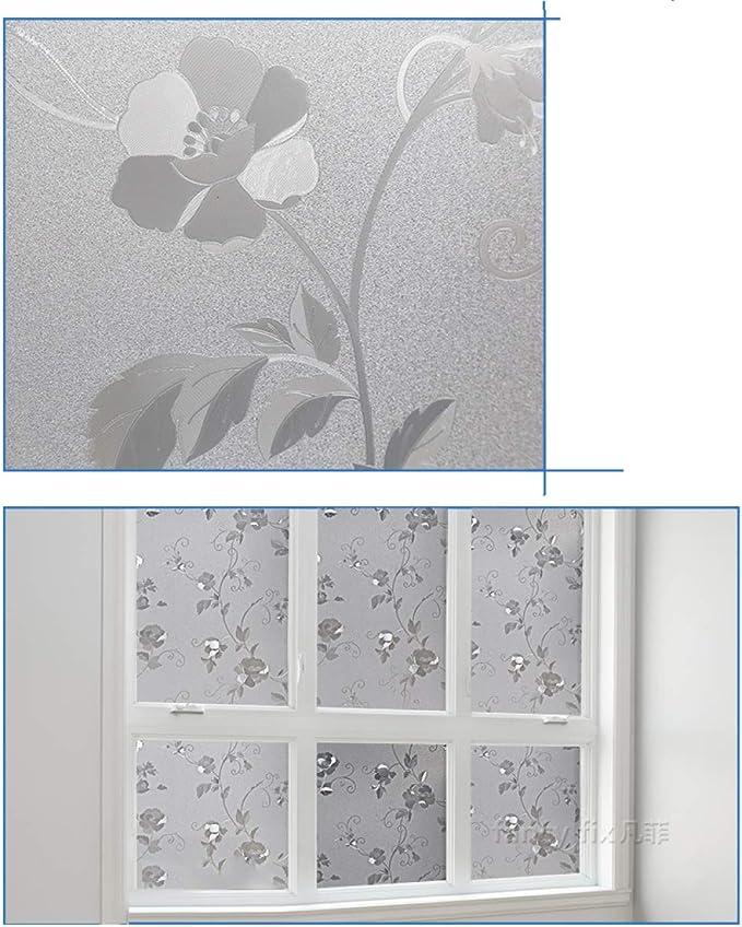 SHFNG 3D No Adhesivo Ventana Película Oficina Baño Cocina Vivo Habitación Decoración Intimidad Anti UV Estático Se Aferra Película De Vidrio,45X500CM: Amazon.es: Hogar