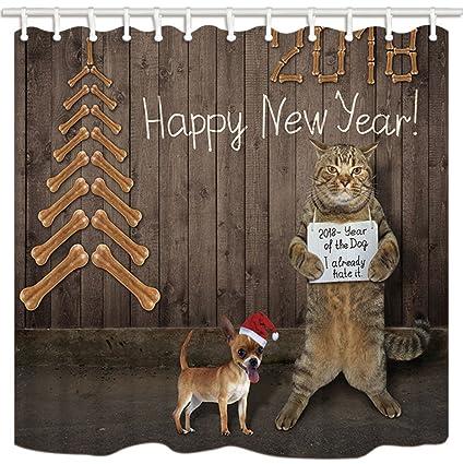 KOTOM cortinas de ducha de tela de Navidad, perro con sombrero 2018 feliz año nuevo
