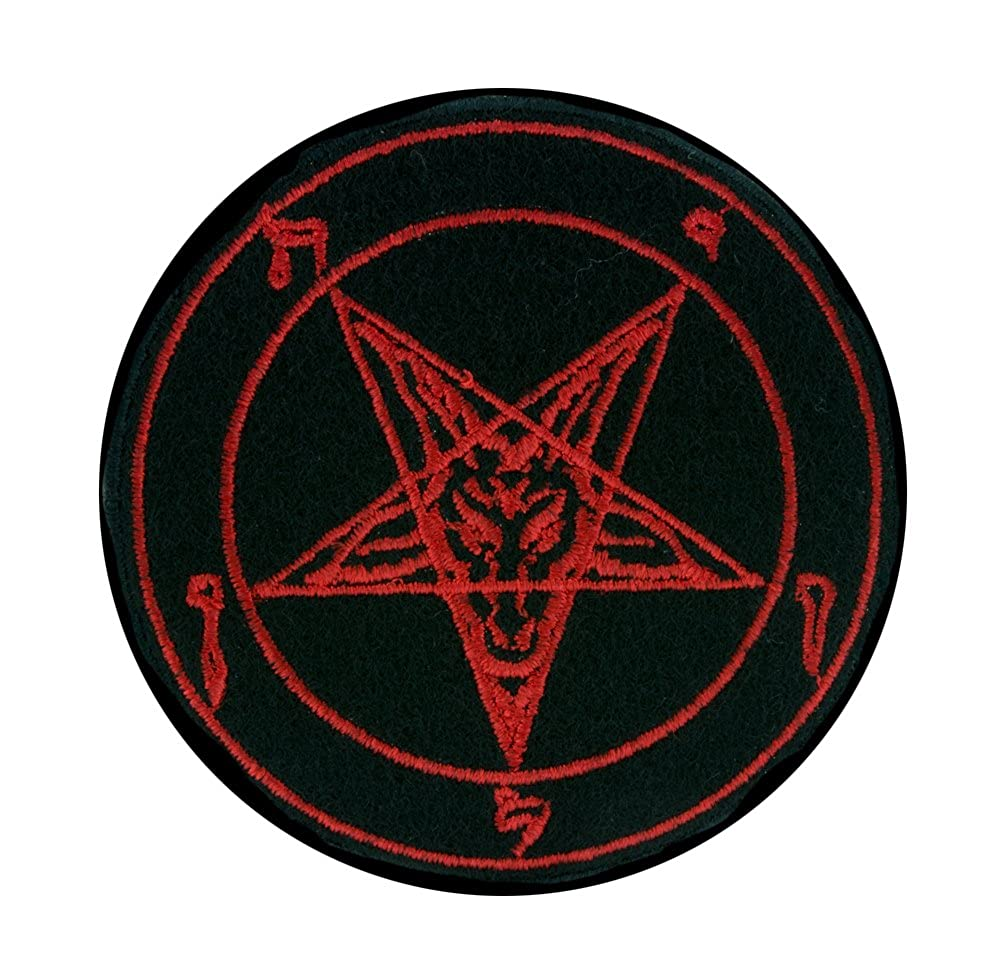 Red Sabbatic Baphomet Goat Head Patch Iron on Applique Occult Clothing Satanic Ritual