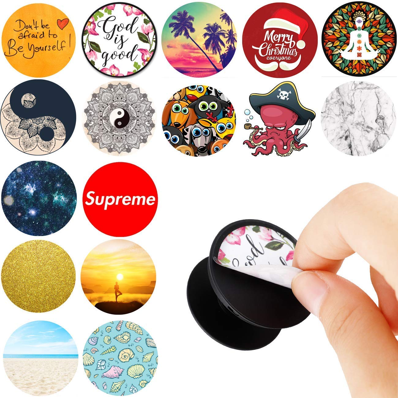 Pack of 16 Easy To Change Stickers for Pop Mount Holder Socket