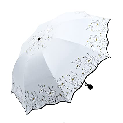 NEW Flower Umbrella Rain Women Men Three-Folding Black Coating Anti-Uv Female Umbrella
