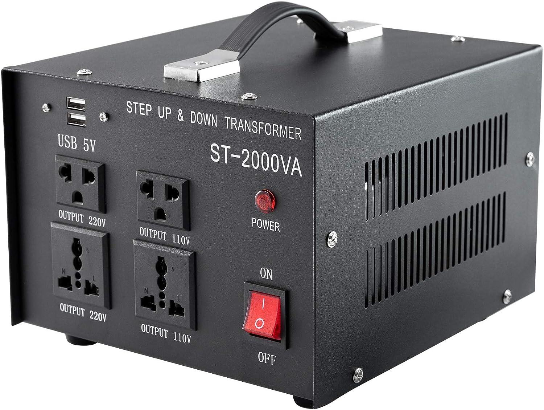 Valens 2000W Convertidor de Voltaje de 220V a 110V Transformador de Voltaje 110V a 220V Transformador de Corriente 110V / 220V Transformador Automático Arriba y Abajo (2000W)