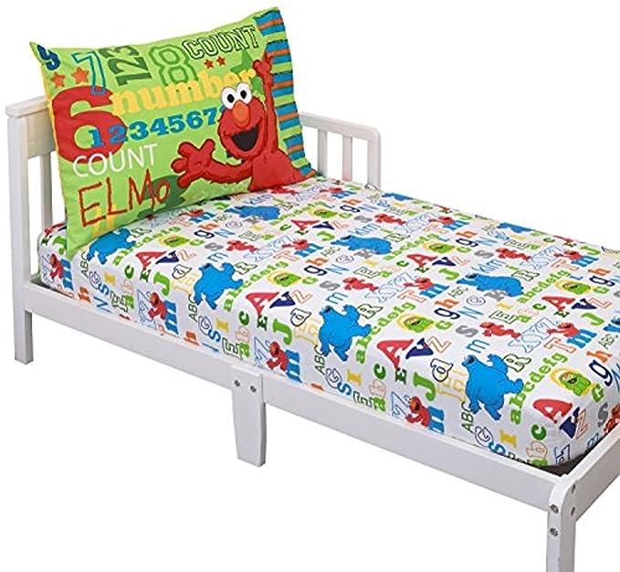 Red Red Sesame Street Best Friends Blue Fitted Bottom Sheet Blue Green Yellow 4Piece Toddler Bed Set Comforter Yellow Reversible Pillowcase Flat Top Sheet
