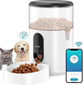 Automatic Cat Feeder, WiFi Dog Food Dispenser with Voice Recorder Programmable Portion Control Up to 8 Meals per Day, Auto Food Feeder with Desiccant Bag for Small & Medium Pets 4L (Black)