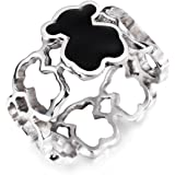 URs Women's Hollow Linked Teddy Bear Ring with A Cute Black Epoxy Bear Setting