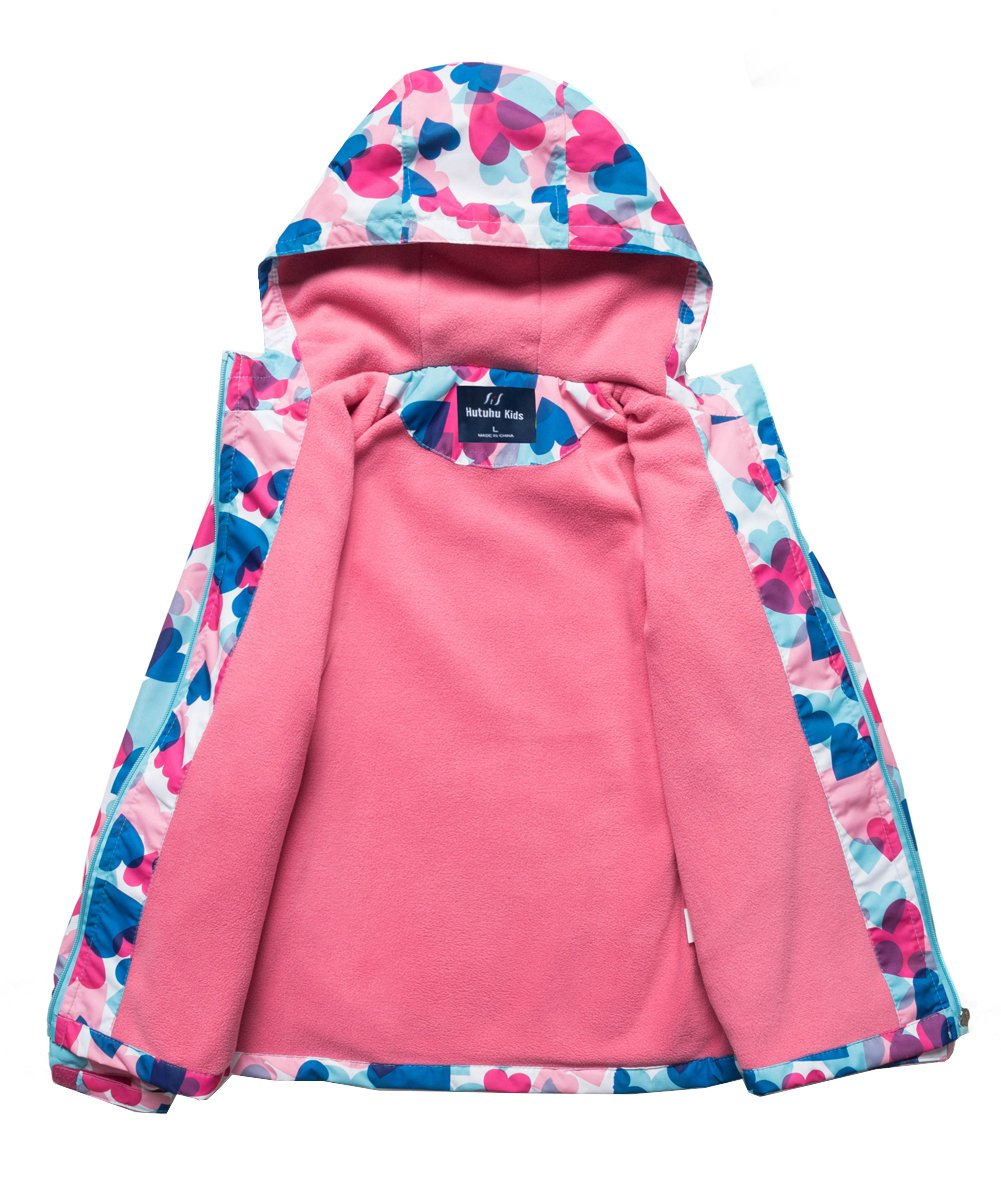 M2C Girls Outdoor Patterned Fleece Lined Light Windproof Jacket with Hood 7/8 Pink by M2C (Image #3)