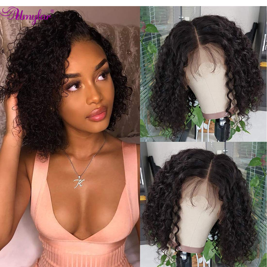 Amazon Com Umylar Human Hair Lace Front Wigs 13x4 Curly Wig With Baby Hair Bleached Knots Pre Plucked Deep Curly Lace Front Bob Wigs Virgin Brazilian Human Hair Lace Frontal Wig 150