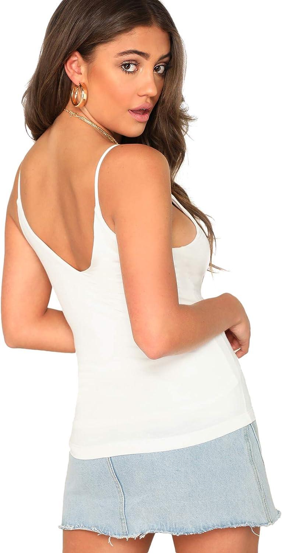 SheIn Womens Casual Basic V Neck Sleeveless Stretchy Regular Length Cami Tank Top