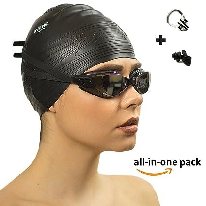 835fd769dc98 Swim Goggles Complete Bundle  Includes Waterproof Swimming Cap Set