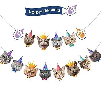 Blulu Pancarta de Cumpleaños de Caras de Gato Guirnalda de Cumpleaños Banderines de Fiesta de Kitties para Fiesta Temática de Gato Fiesta de ...