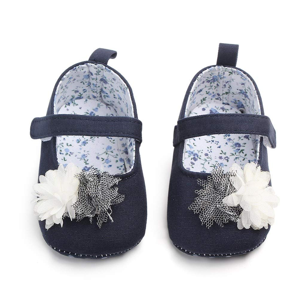 GorNorriss Baby Girl Shoes Newborn Cute Canvas Flower Single First Walker Soft Sole Shoes